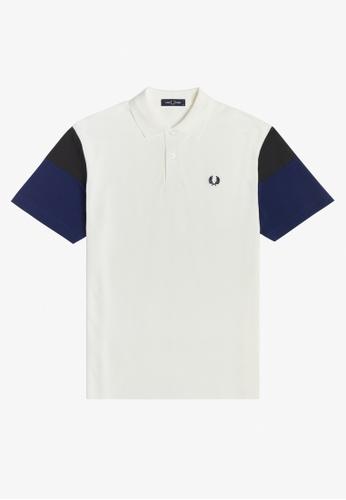 FRED PERRY white M1622 - Woven Colour Block Polo Shirt - (Snow White) 2082CAA734988DGS_1