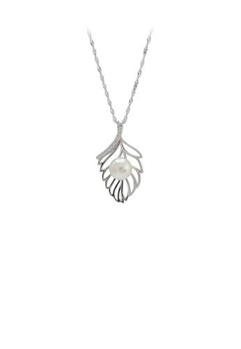 Glamorousky 白色 925純銀簡約時尚樹葉白色淡水珍珠吊墜配項鏈 97BEFAC69FCCCAGS_1