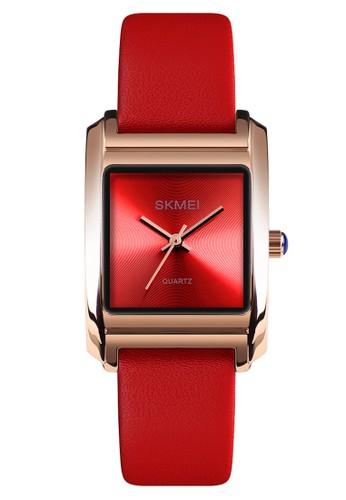 Digitec red Skmei - Jam Tangan Wanita - Rosegold - Red Leather Strap - 1432-C 9474BAC11859EFGS_1