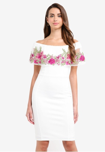 Lipsy white Ws Embroidered Bardot Dress 5518EAA6FCFF83GS_1