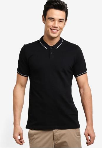 ZALORA black Pique Tipping Polo Shirt 66E2FAA9CC410DGS_1