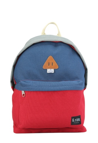 G.ride grey and red and navy Auguste Backpack 00A6AAC4D673CDGS_1