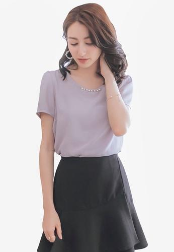 Yoco purple Short Sleeve Top with Pearls 2CD4BAA3AA5E39GS_1