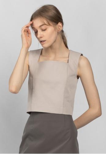 TAV grey [Korean Designer Brand] Square Neck Top - Grey 3B171AABFF8F70GS_1