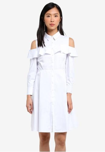 ZALORA white Ruffle Front Shirt Dress 41497AA0E32A04GS_1