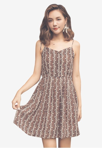 Yoco brown Floral Camisole Dress BF54CAA08AAC59GS_1