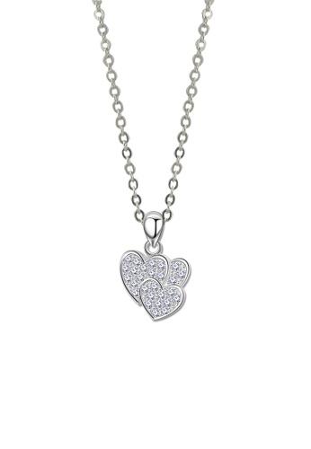 SC Tom Silver silver Triple Heart Stone Pendant-SP254 w/chain SC872AC41KBEPH_1