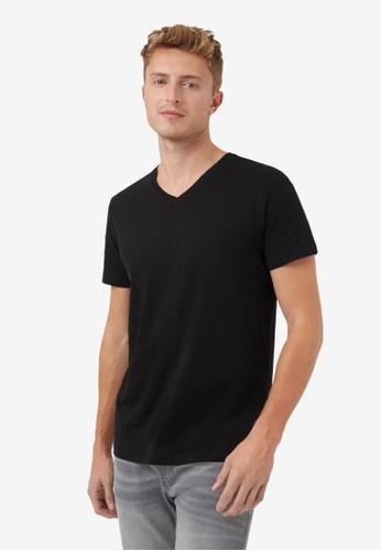 Burton Menswear London black Black Short Sleeve V Neck T-Shirt With Organic Cotton 10288AAC0AE1CAGS_1