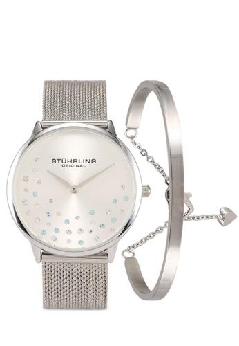Stuhrling Original silver 3928 Quartz Mesh Watch & Bracelet Set 16157AC5C79220GS_1