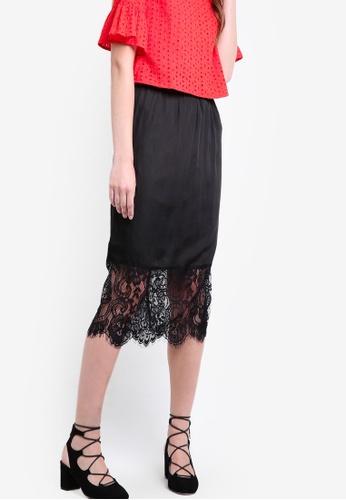 ZALORA black Love Lace Hem Midi Skirt AA97FAA580E707GS_1