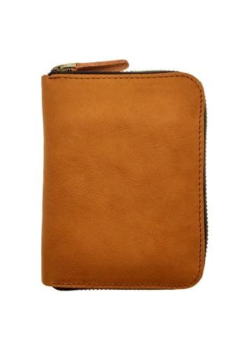 LUXORA brown and orange The Ninja Co. Full Grain Natural Leather Billfold Zipper Card Wallet Holder Purse Brown Men Women Gifts Orange Brown 7AE57AC1CCDD69GS_1