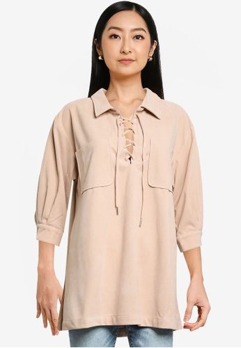 Heather brown Lace Up Top 83FD9AA4E18A26GS_1