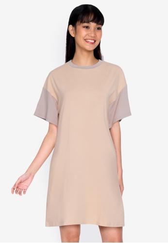 ZALORA BASICS multi Contrast Blocked T-shirt Dress 3D5E6AAB1CCAEEGS_1