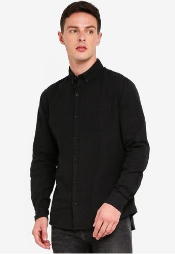Cotton On 黑色 Premium Linen Cotton Long Sleeve Shirt 3D22EAA9EB5590GS_1