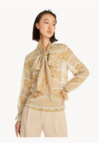 Pomelo brown Sheer Tied Neck Floral Top - Brown 800B0AA819D09CGS_1