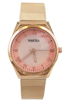 Nafisa Women's Round Seashell Dial Roman Numerals Mesh Chain Gold Stainless Steel Strap Watch