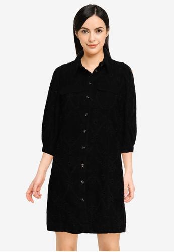 Vero Moda black Joan Short Embroidery Denim Dress 55D2FAA4B3E3CDGS_1
