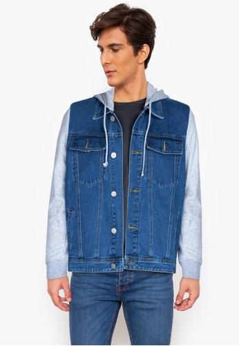 ZALORA BASICS blue Acid Wash Denim Hooded Jacket 69D78AA3246BD3GS_1