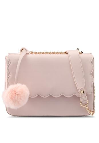 Velvet pink Scallop Front Shoulder Bag 47799ZZ14F0324GS_1