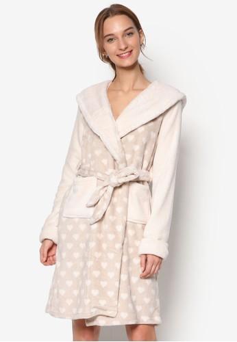 熊貓連帽羊毛長袍, 服飾,zalora時尚購物網的koumi koumi 睡袍