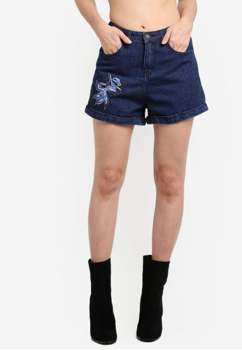 Something Borrowed blue Embroidery Patch Mom Fit Shorts 98F66ZZ7D73C25GS_1