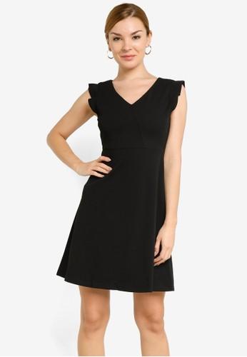 ZALORA WORK black V Neck Fit & Flare Dress 0BFDEAA6EF045EGS_1