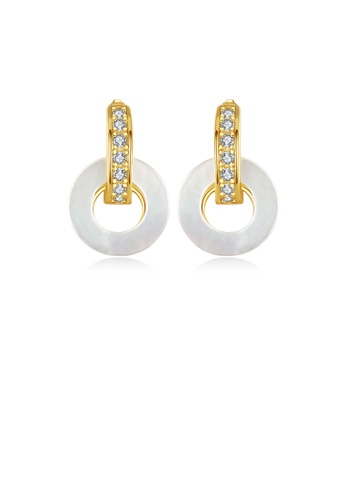 Glamorousky white 925 Sterling Silver Plated Gold Simple and Elegant Geometric Shell Round Earrings with Cubic Zirconia 5B237AC65375A4GS_1