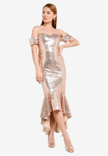 Goddiva gold Sequin Bardot Peplum Maxi Dress F751FAA2C18624GS_1