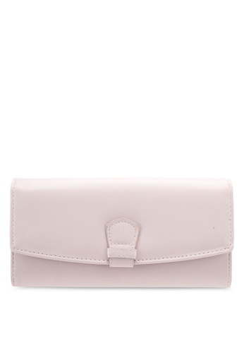 Velvet pink LONG WALLET WITH STITCH DETAIL 91FBDZZA953513GS_1