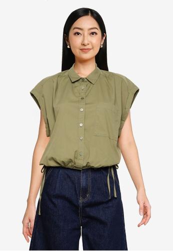 Abercrombie & Fitch green Cinch Hem Shirt 3854FAAE29DE38GS_1