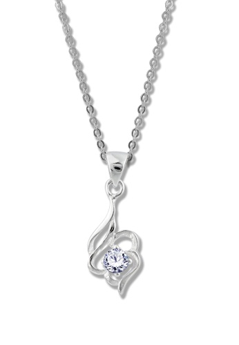 SC Tom Silver silver Flower Heart Stone Pendant with Chain- TPS123 SC872AC65KHYPH_1