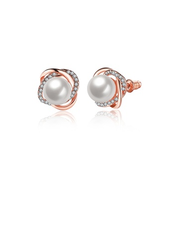 Glamorousky silver Elegant Fashion Flower Rose Gold Plated Earrings with White Pearl E79CEAC7DBD061GS_1