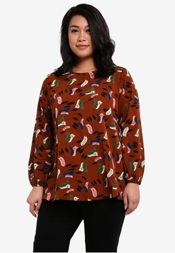 Ex'otico brown Plus Size Long Sleeve Frilly Printed Blouse EX373AA0RUV0MY_1