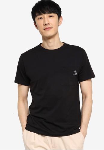 ZALORA BASICS black Embroidered Pocket T-Shirt C7E00AA749A688GS_1