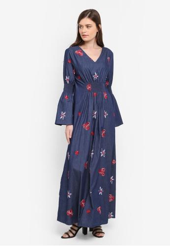 Zalia blue Smocked Flare Sleeve Dress D9508AA46C6290GS_1