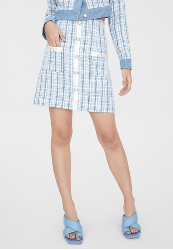 Pomelo blue Tweed Button Up Skirt - Baby Blue C4FE0AA69670E1GS_1