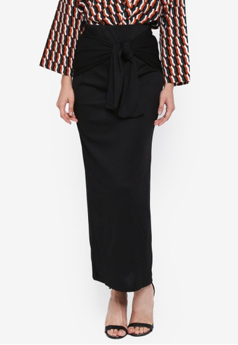 Lubna black Rib Knit Tied Knot Skirt C99A6AA7A18871GS_1