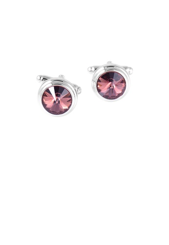 Glamorousky red Elegant and Simple Geometric Round Red Cubic Zirconia Cufflinks 95C3EACD6FCFCDGS_1