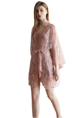 LYCKA pink LMX1053-Lady Lace Pajamas Two Pieces Set-Pink 3B9E5AA93A026AGS_1