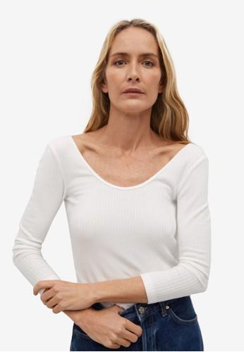 Mango white Ribbed Long-Sleeved T-Shirt FC30BAA9EE16E3GS_1