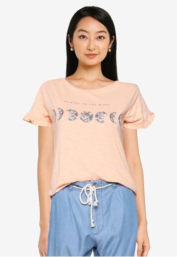 Springfield orange Flounced Sleeve Graphic T-Shirt E1E9BAAB84C416GS_1