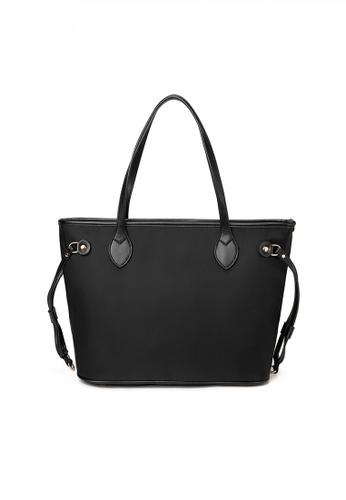 Twenty Eight Shoes black Stylish Large Capacity Nylon Oxford Patch Faux Leather Tote Bag JW CL-C3701 D58C0AC3946E85GS_1