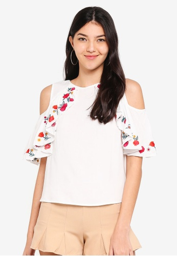2ba32fed289 Kitschen white Floral Embroidered Ruffle Cut Out Shoulder Top  60DAEAA9BBB380GS 1