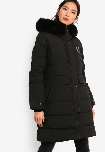 545a10124 Embroidered Logo Hooded Long Down Jacket