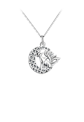 Glamorousky silver 925 Sterling Silver Fashion Personality Nine-tailed Fox Moon Pendant with Necklace 54844AC64F9498GS_1