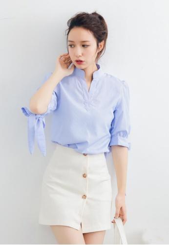 Shopsfashion blue Bow Knot Sleeves Shirt SH656AA50IQRSG_1
