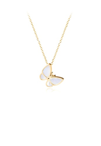 Glamorousky white Fashion and Elegant Plated Gold Butterfly 316L Stainless Steel Pendant with Mother-of-pearl and Necklace E0176AC12A3E37GS_1