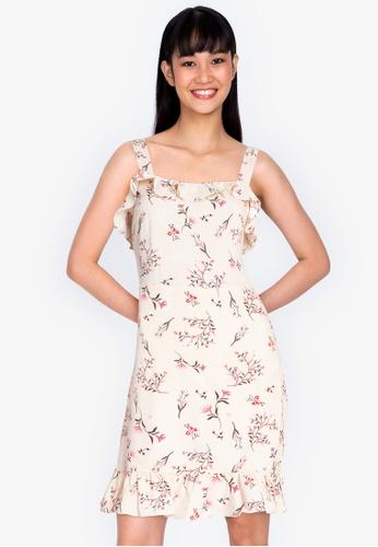 ZALORA BASICS multi Floral Flutter Hem Mini Dress 97C4BAA89068D8GS_1