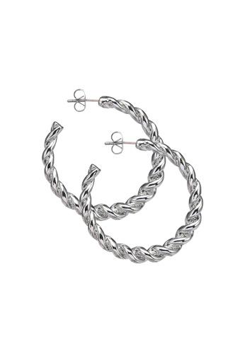 Pieces silver Majse Hoop Earrings 5B686AC9ED3947GS_1