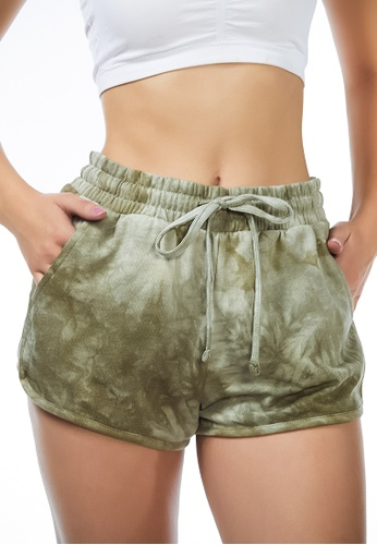 London Rag green Lounging Around Tie-Dye Shorts in Olive Green C4320AA2E8027DGS_1